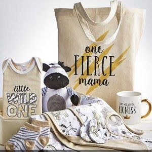 9 piece gift basket lion zebra mom and baby